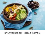 raw food diet or clean eating... | Shutterstock . vector #581543953