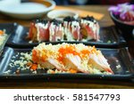shrimp sushi with flying fish... | Shutterstock . vector #581547793