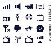 broadcast icons set. set of 16... | Shutterstock .eps vector #581551543