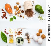 selection food sources of omega ... | Shutterstock . vector #581552797