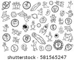 black and white cartoon... | Shutterstock .eps vector #581565247
