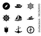 nautical icons set. set of 9... | Shutterstock .eps vector #581569093