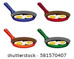 scrambled eggs in the pan.... | Shutterstock .eps vector #581570407