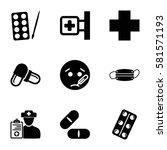 illness icons set. set of 9... | Shutterstock .eps vector #581571193