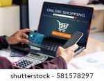 online shopping concept.man...   Shutterstock . vector #581578297