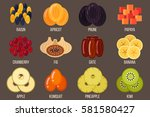 vector set of dried fruits.... | Shutterstock .eps vector #581580427