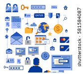 web hacking icons set  color...   Shutterstock .eps vector #581584087