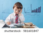 young boy  talking on the phone ... | Shutterstock . vector #581601847