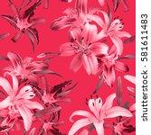 vibrant floral pattern blossom... | Shutterstock . vector #581611483