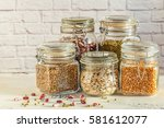 Glass Jars With Various Legume...