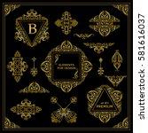 vector set of vintage elements... | Shutterstock .eps vector #581616037