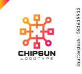 square sun chip integrate... | Shutterstock .eps vector #581619913