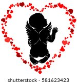 Angel Baby Silhouette With...