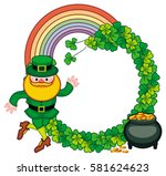 round frame with shamrock ... | Shutterstock .eps vector #581624623