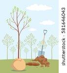 seeding fruit tree. planting... | Shutterstock .eps vector #581646043