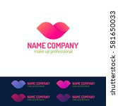 makeup logo set consisting of... | Shutterstock .eps vector #581650033