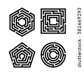 abstract maze set. collection... | Shutterstock .eps vector #581669293