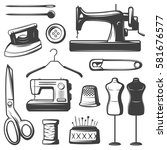 vintage tailor elements set... | Shutterstock .eps vector #581676577