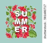 red hibiscus in rectangular... | Shutterstock .eps vector #581680717