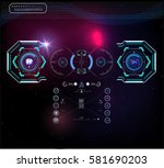 set of futuristic blue... | Shutterstock .eps vector #581690203
