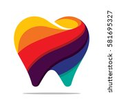 colorful tooth icon | Shutterstock .eps vector #581695327