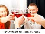 dinner with friends. | Shutterstock . vector #581697067