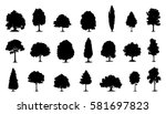 tree silhouettes on the white...   Shutterstock .eps vector #581697823