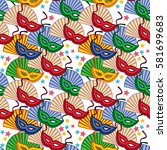 seamless pattern with carnival... | Shutterstock .eps vector #581699683