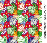 seamless pattern with carnival... | Shutterstock .eps vector #581699797