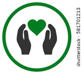 love care hands rounded icon.... | Shutterstock .eps vector #581701213