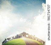 modern business cityscape on... | Shutterstock . vector #581714737