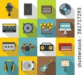 recording equipment icons set.... | Shutterstock .eps vector #581717293