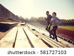 fitness  sport  exercising and... | Shutterstock . vector #581727103