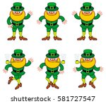 dancing leprechauns isolated on ... | Shutterstock . vector #581727547