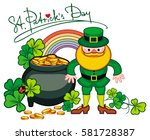 holiday label with shamrock ... | Shutterstock . vector #581728387
