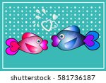 cute fish greeting card.... | Shutterstock .eps vector #581736187