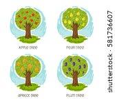 set the image of garden trees ... | Shutterstock .eps vector #581736607