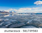 iceland winter lake with blue... | Shutterstock . vector #581739583