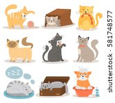 cute cats character different... | Shutterstock .eps vector #581748577