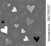 seamless pattern of hearts ... | Shutterstock .eps vector #581755537
