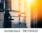 windows of commercial building... | Shutterstock . vector #581764423