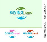 giving hand logo vector  with