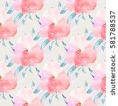watercolor flower background.... | Shutterstock . vector #581788537