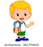 vector illustration of cute boy ... | Shutterstock .eps vector #581793643