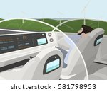 self driving electric car goes... | Shutterstock .eps vector #581798953
