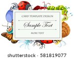 card template with many bugs... | Shutterstock .eps vector #581819077