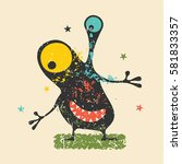 cute black monster with... | Shutterstock .eps vector #581833357