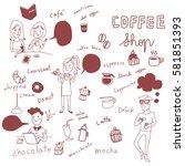 set of people in coffee shop... | Shutterstock .eps vector #581851393