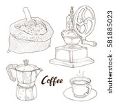 hand drawn illustration set of... | Shutterstock .eps vector #581885023
