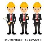 construction manager arms... | Shutterstock .eps vector #581892067